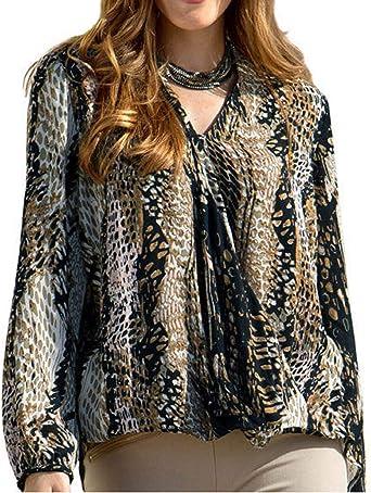 holidaysuitcase - Camisas - Animal Print - para Mujer Marrón marrón 36/38: Amazon.es: Ropa y accesorios