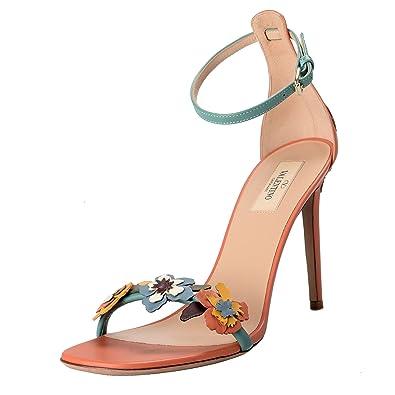 7dd7c5750da Valentino Garavani Women s Leather Flowers Open Toe Ankle Strap High Heels  Shoes US 7 IT 38