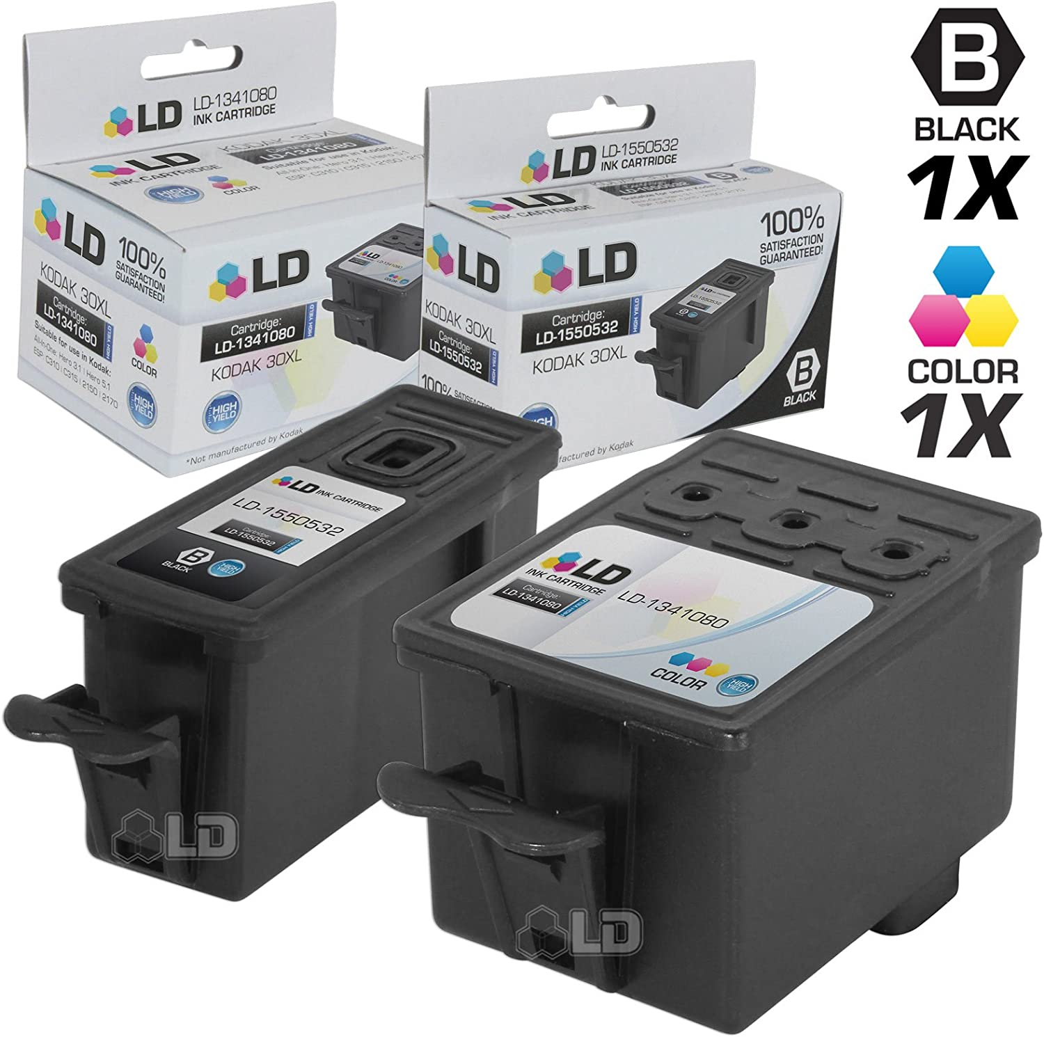 LD Compatible Ink Cartridge Replacement for Kodak 30XL High Yield (1 Black, 1 Color, 2-Pack)