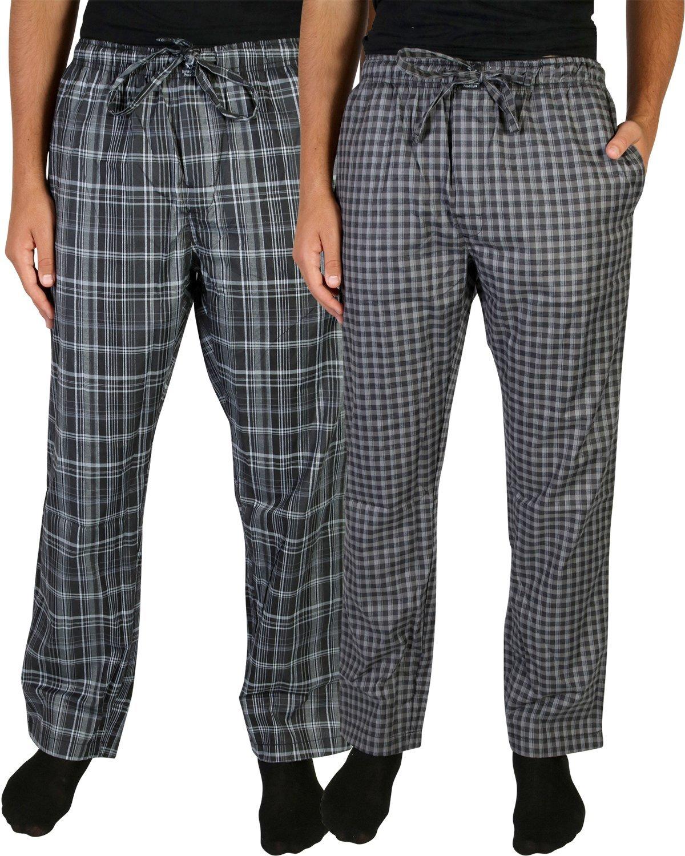 Beverly Hills Polo Club Men's Woven Plaid Sleep Lounge Pajama Pants (2-Pack), Grey Plaid/Charcoal Plaid, Medium (32-34)'