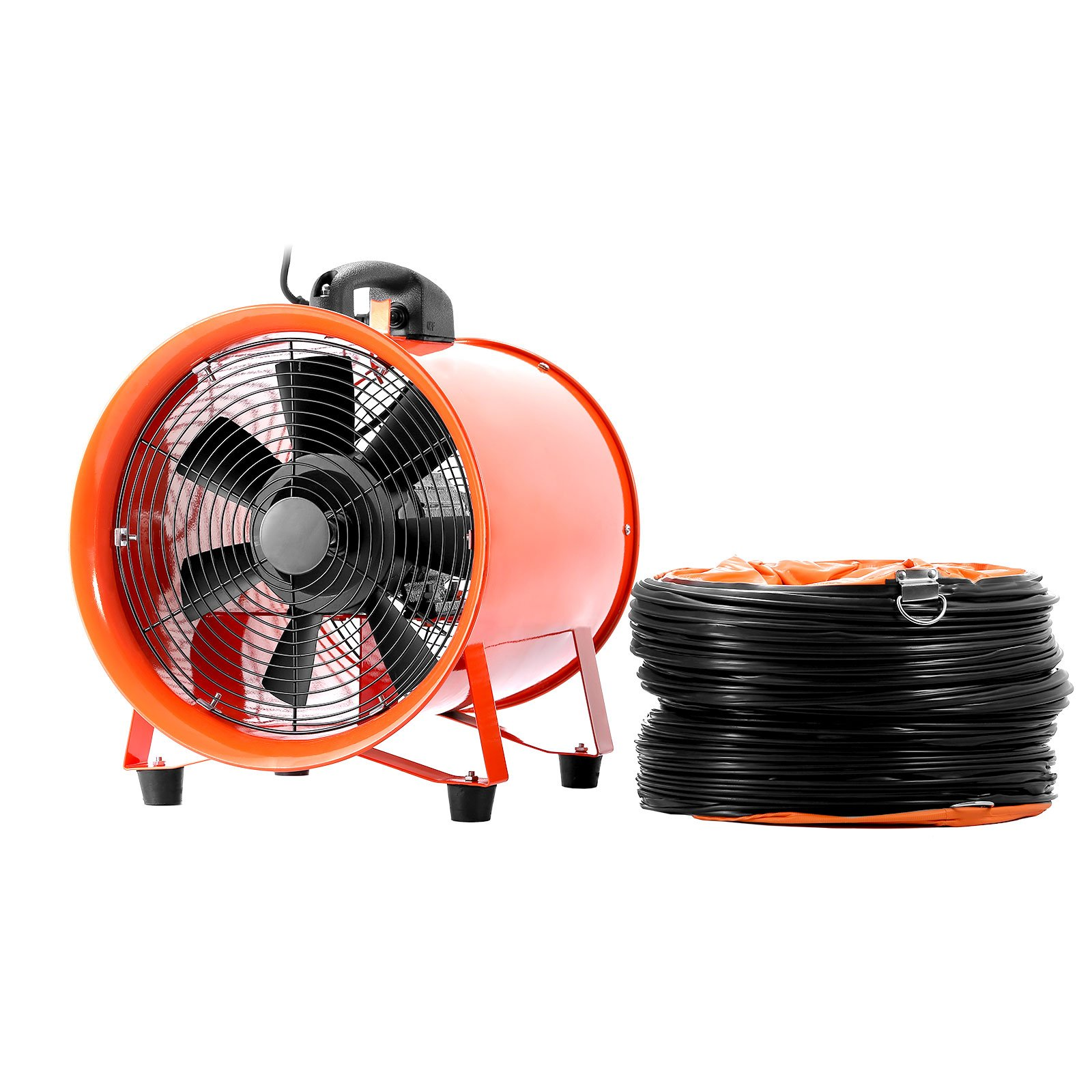 LOVSHARE Ventilator Blower 5M Duct 10 Inch 1518 CFM Portable Industrial Fan 2800 RPM 0.43 HP Workshop Fume Extractor Fan High Velocity Blower Fan with Retractable Duct (10 inch with duct)