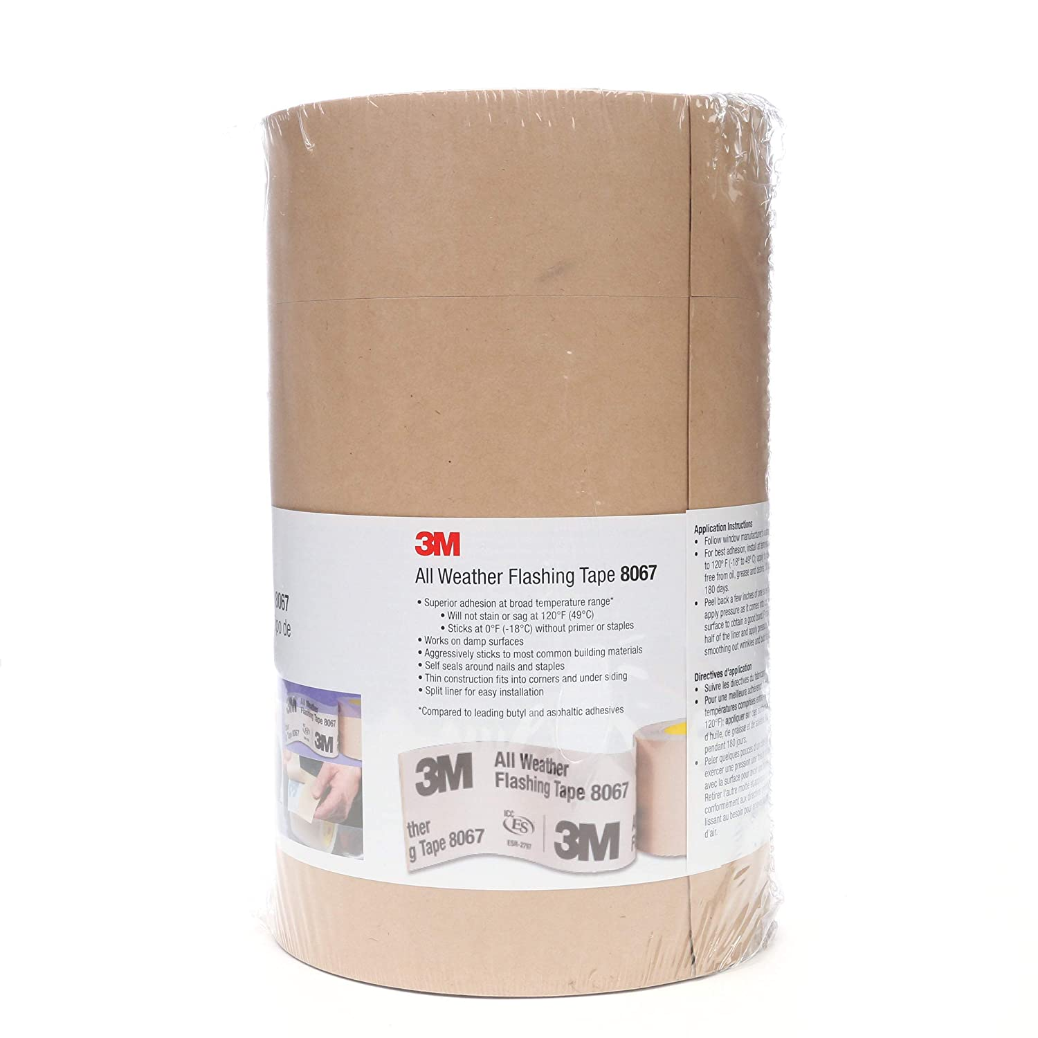 4 in x 75 ft Tan 3M All Weather Flashing Tape 8067 Slit Liner