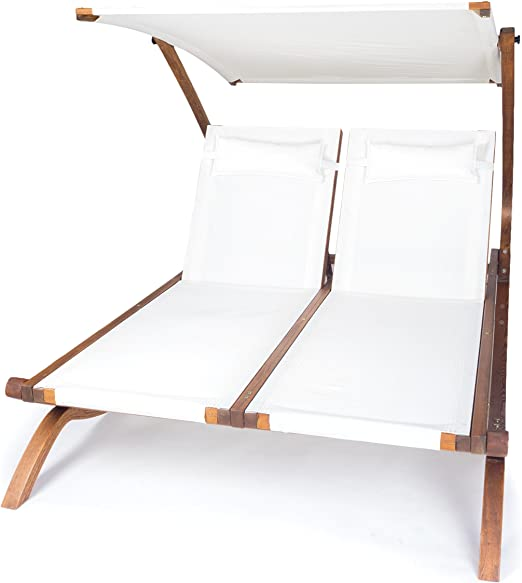 Ampel 24 - Tumbona de Jardin Hawái Blanca/con Techo Ajustable/Cama para Dos Personas/respaldos reglables Individuales / 199 x 156 cm: Amazon.es: Jardín
