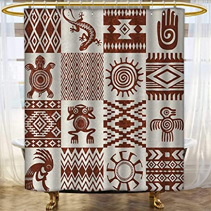 Anhounine Southwestern Shower Curtains With Hooks Frames Ethnic Native American Patterns And Symbols Grunge