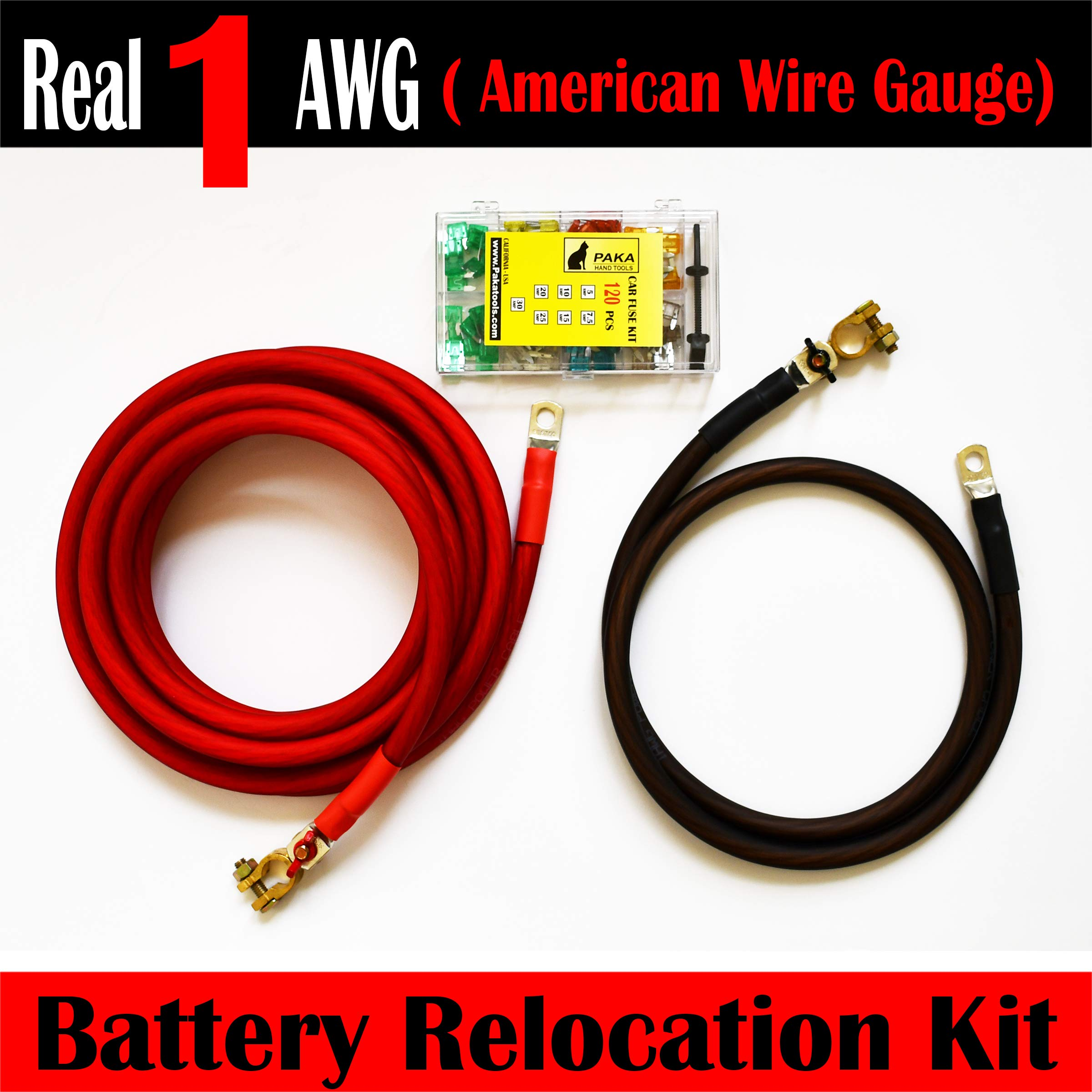 MADE IN USA Battery Relocation Kit, 1 AWG Cable, Top Post 16 + 4 Feet + Fuse Kit by PAKA TOOLS