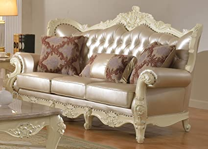 Amazon.com: Meridian Furniture Madrid Leather Sofa: Kitchen ...