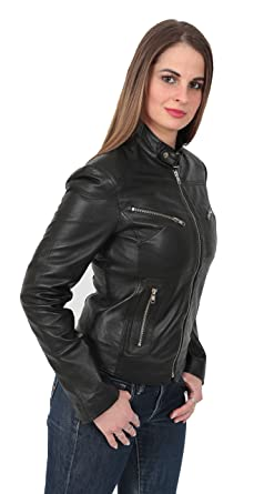 54f38d15b A1 FASHION GOODS Ladies Leather Biker Jacket Girls Funky Sexy Fitted ...