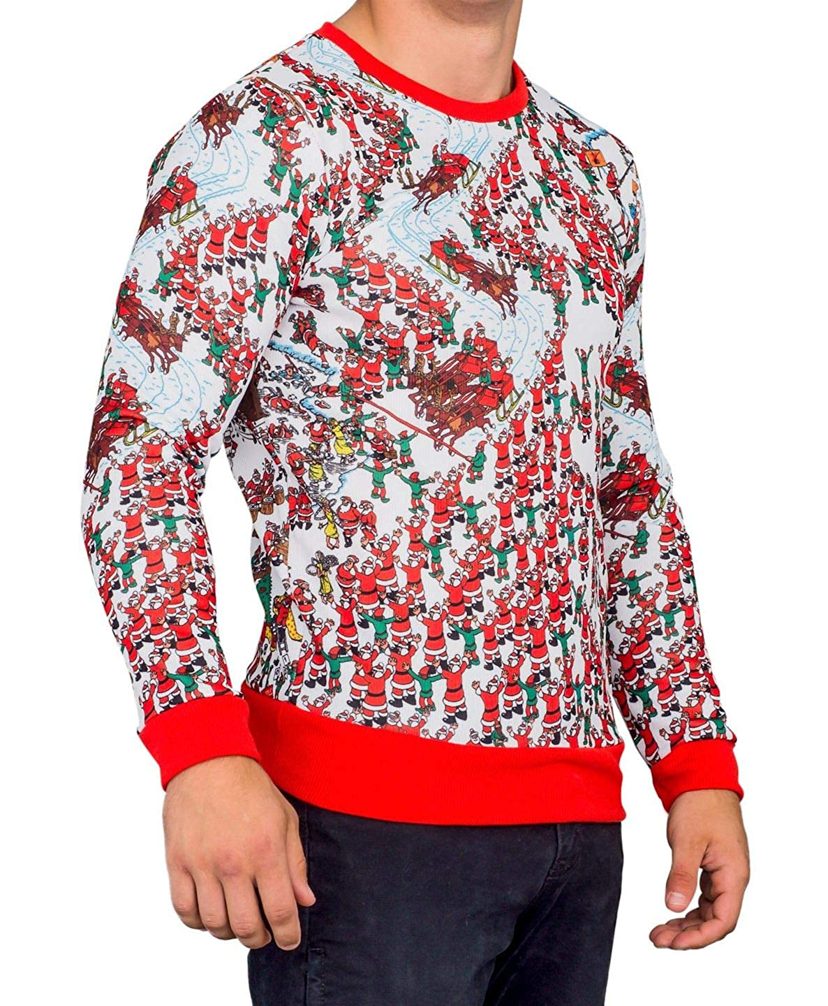 b92177f60b Amazon.com  Mad Engine Where s Waldo Santa Sleds Snow Mountain Long Sleeve  Red and White Sweater  Clothing