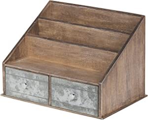 Kate and Laurel Industrious Desktop File Folder Organizer with 2 Pockets and 2 Drawers, Rustic Brown and Galvanized Metal