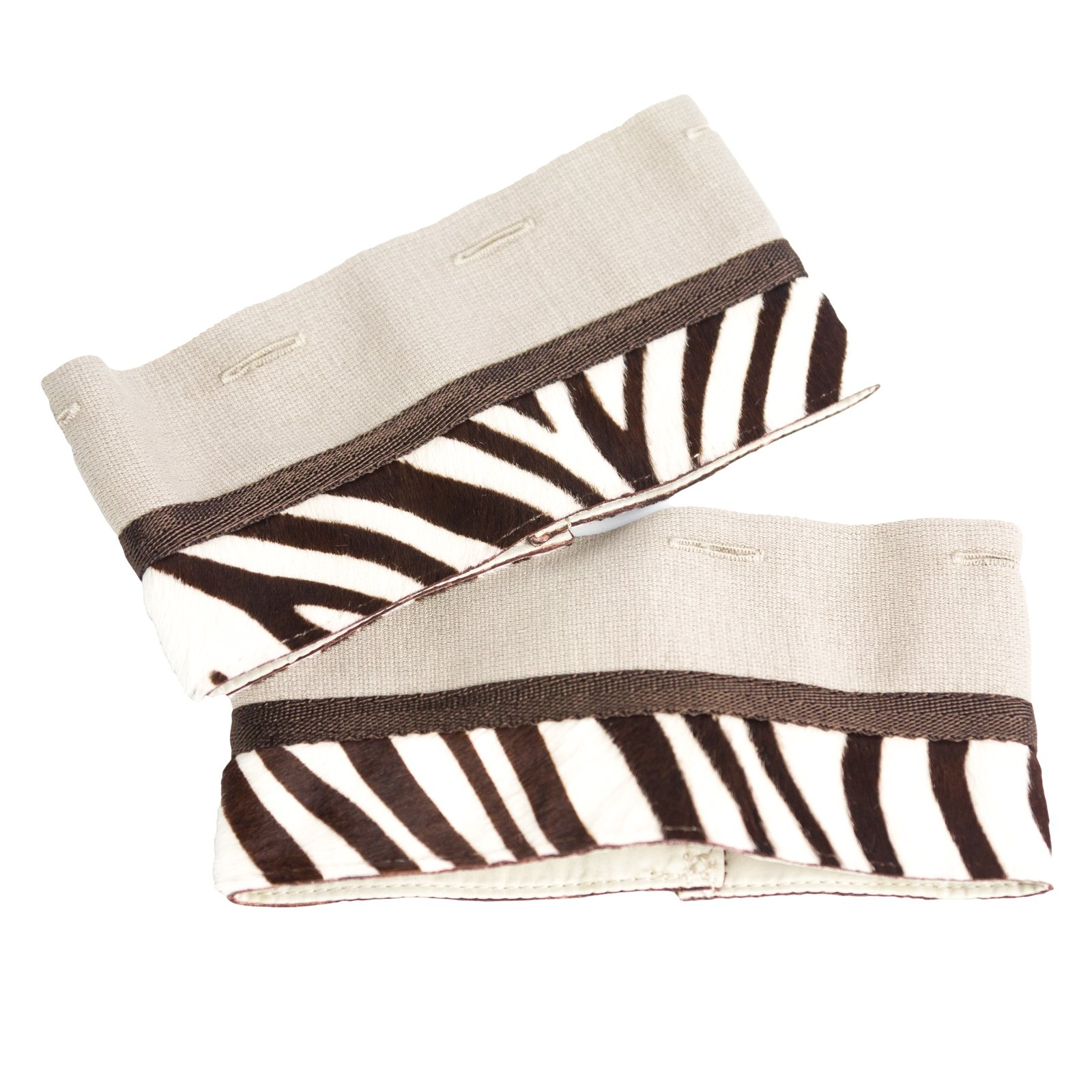 'S Max Mara Women's Negrar Zebra Print Cube Collection Cuffs One Size Beige