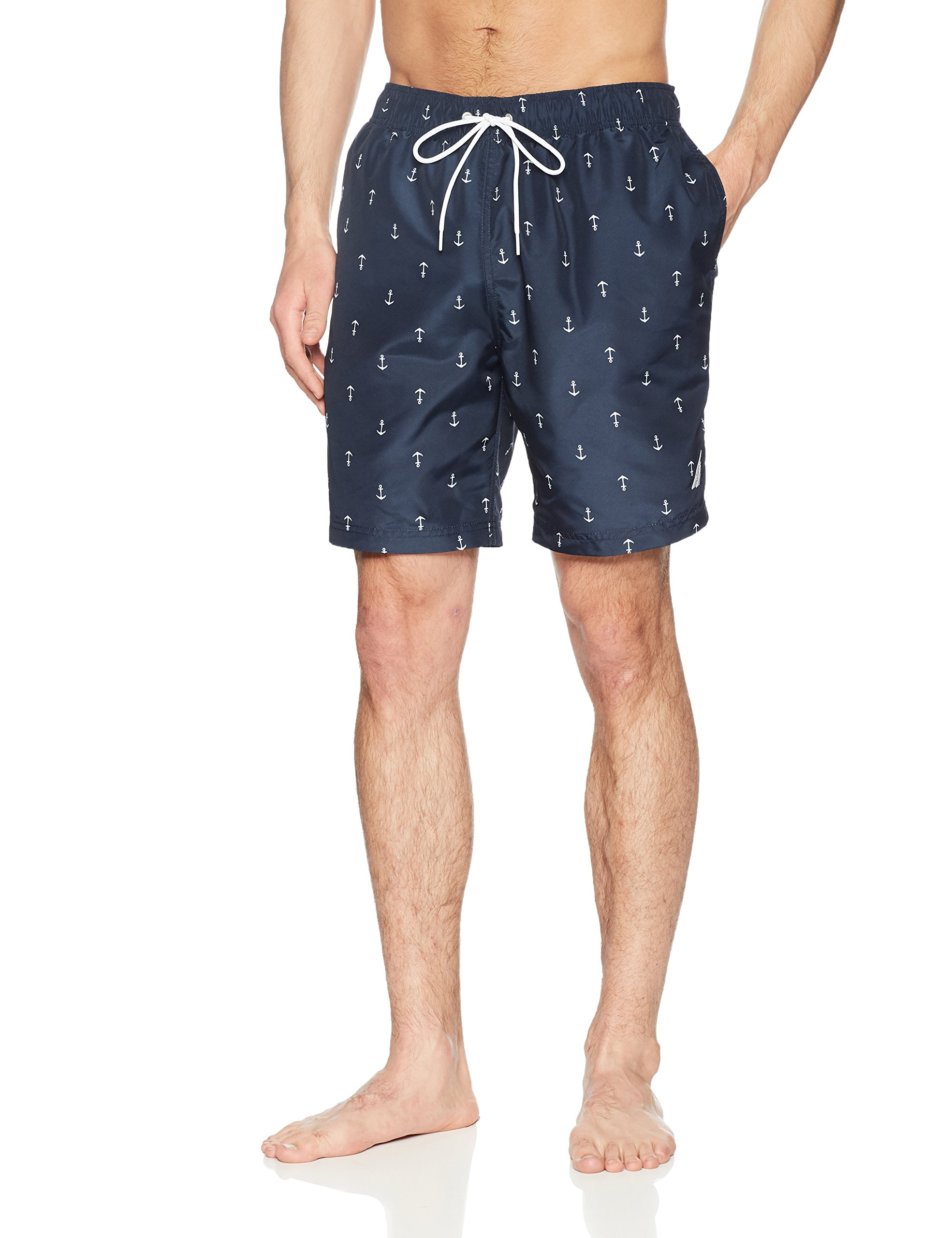 Nautica Men's Quick Dry All Over Classic Anchor Print Swim Trunk, Navy, XX-Large by Nautica