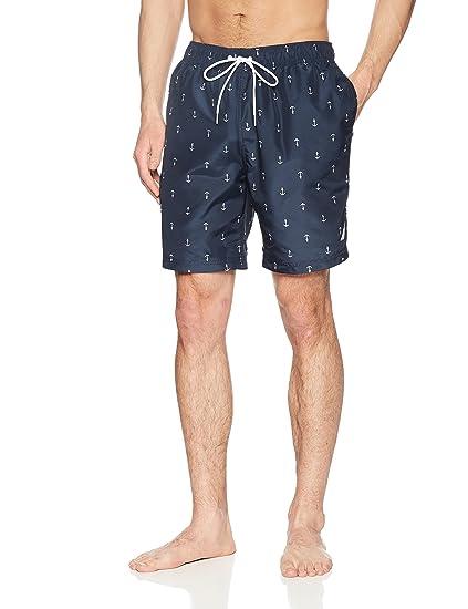 2193461f7b Nautica Men's's Quick Dry All Over Classic Anchor Print Swim Trunk:  Amazon.co.uk: Clothing