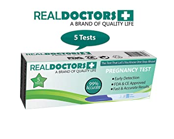 REAL DOCTORS 5 Early Detection Pregnancy Tests Easy To Use At Home, HCG detection in