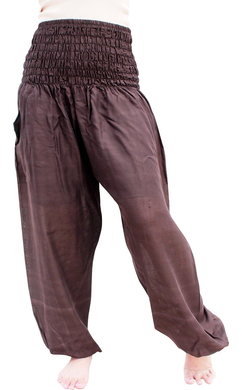 Full Funk Plain Aladdin Rayon Harem Pants Viscose Smock Waist with Pocket variant45460AMZ