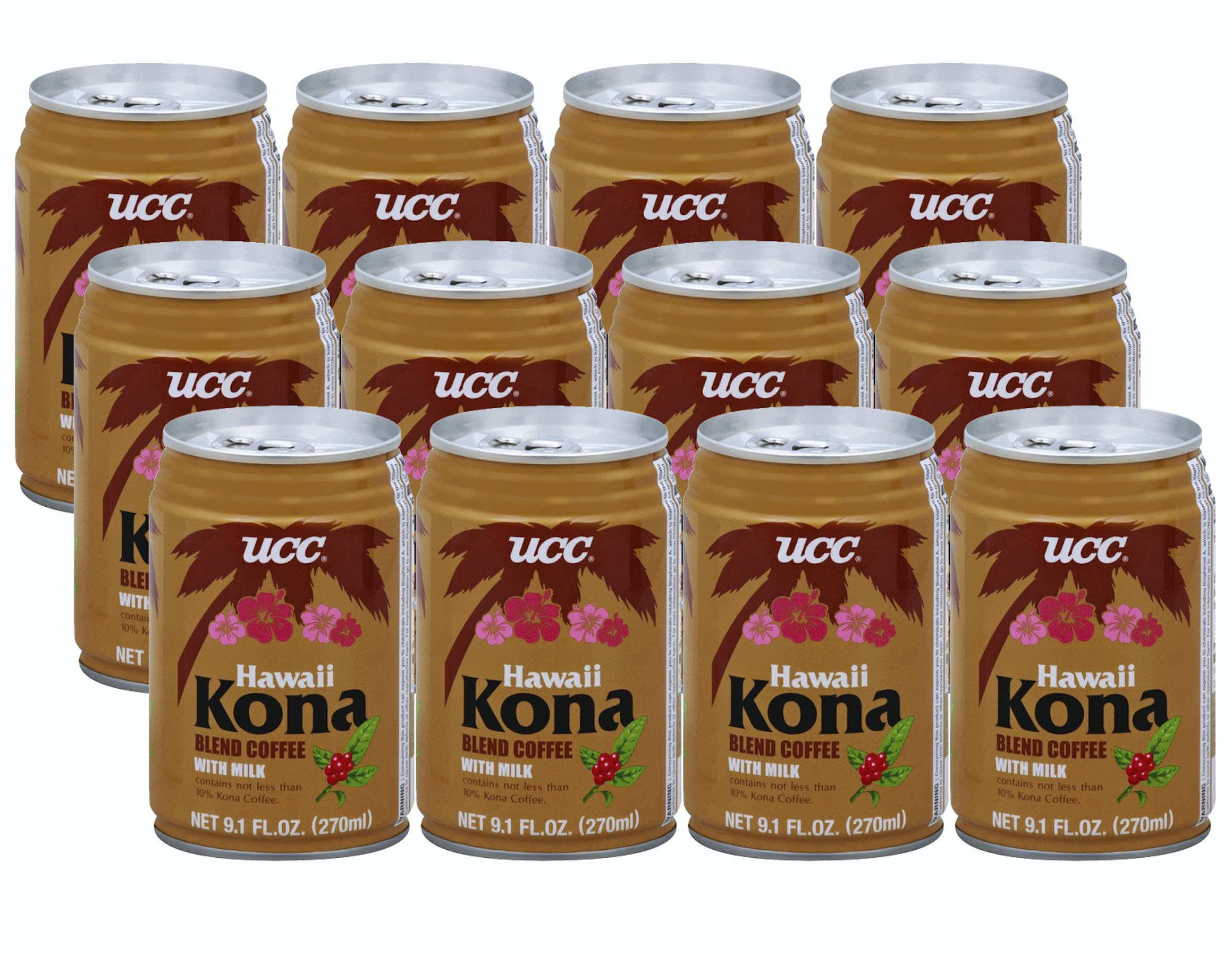 UCC Hawaii Kona Blend Coffee with Milk - 9.1 Fl Oz Cans | Pack of 12 by C&U