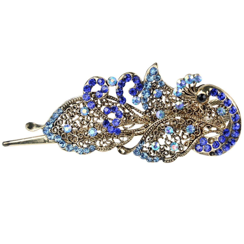 TOOGOO(R) Vintage Belle Cristal Bijoux paon Barrettes epingles a cheveux - Pour pince a cheveux Beaute Outils SODIAL(R) 025848
