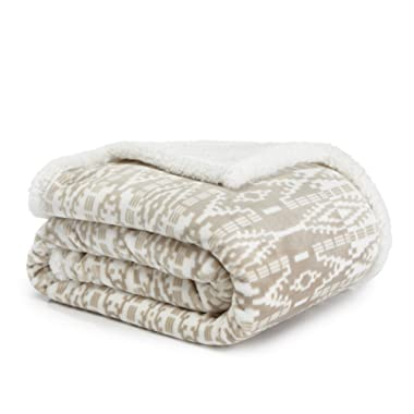 Eddie Bauer San Juan Oyster Sherpa Plush Throw, 50x60, Off White