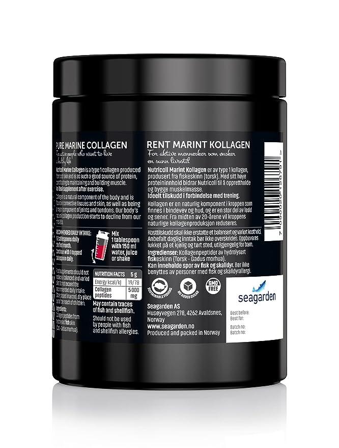 Polvo de Colágeno Marino Noruego Puro | Péptidos hidrolizados | Suplemento para piel, cabello, uñas, tendones, músculos y ligamentos | 60 porciones x 5000 ...