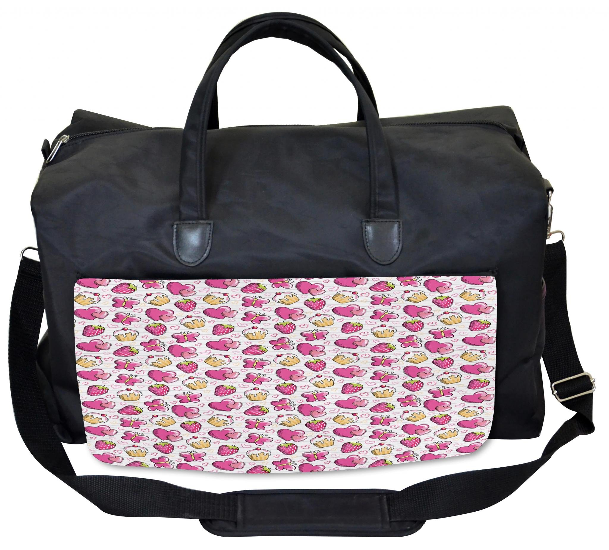 Lunarable Hearts Gym Bag, Yummy Cupcake Strawberry, Large Weekender Carry-on by Lunarable