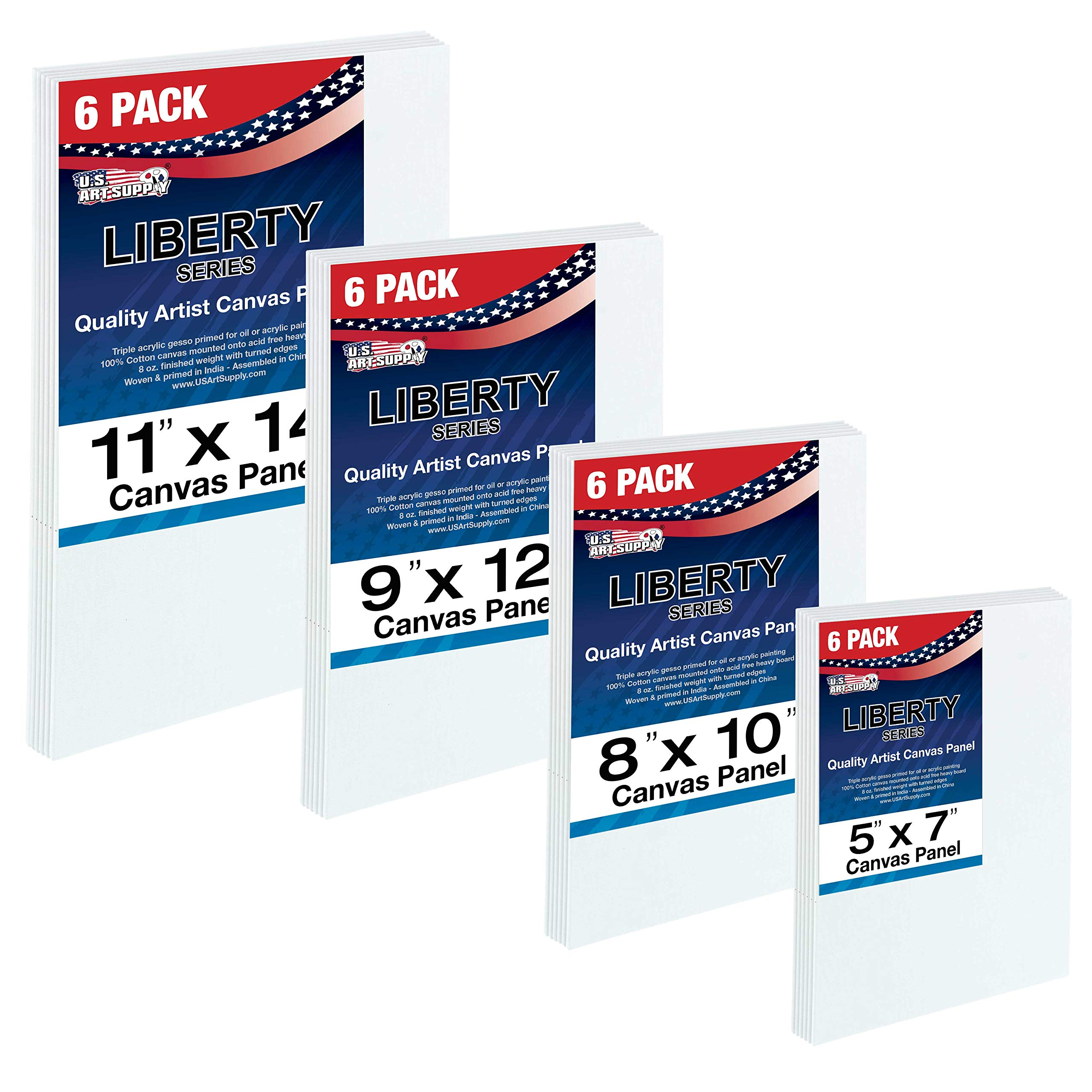 US Art Supply Multi-pack 6-Ea of 5 x 7, 8 x 10, 9 x 12, 11 x 14 inch. Professional Quality Medium Artist Canvas Panel Assortment Pack (24 Total Panels) by US Art Supply