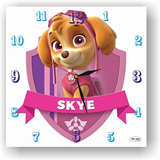 """OFFICIAL NEW 10/"""" RED PAW PATROL SKYE WALL CLOCK CHILDRENS CLOCK BEDROOM CLOCK"""