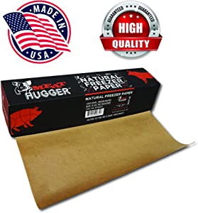 Natural Freezer Paper Dispenser Box (17.25 Inch x 175 Feet Roll) - Poly Coated Moisture Resistant Wrap with Matte Side for Freezing Meats, Protects Against Freezer Burn