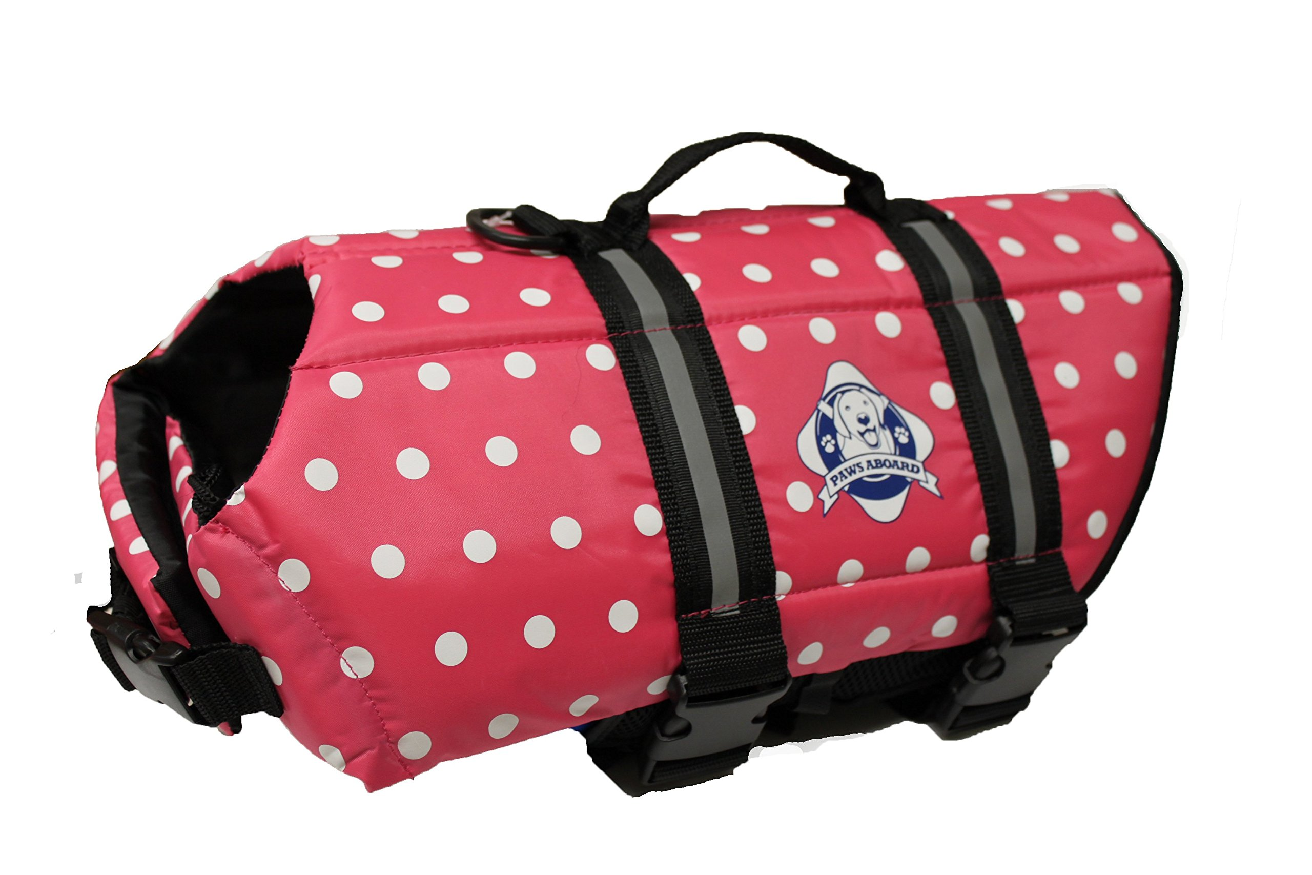 Fido Pet Products Paws Aboard Doggy Life Jacket, Medium, Pink Polka Dot