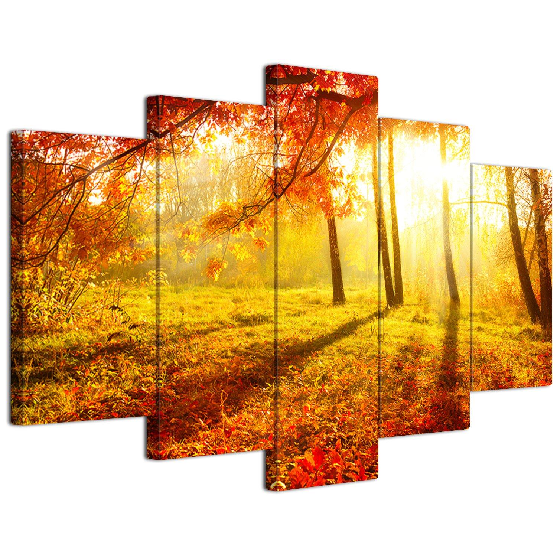 【リブラLibra】 5パネルセット アートパネル インテリアアート「林森」 キャンバス絵画 (木枠付きの完成品) (L, LP1701) B075STYK3W Large|LP1701 LP1701 Large