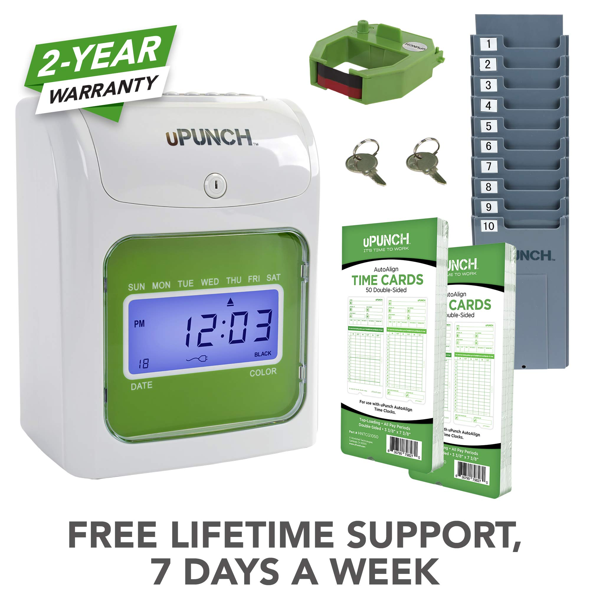 uPunch Starter Time Clock Bundle with 100-Cards, 1 Time Card Rack, 1 Ribbon & 2 Keys (HN1500) by uPunch