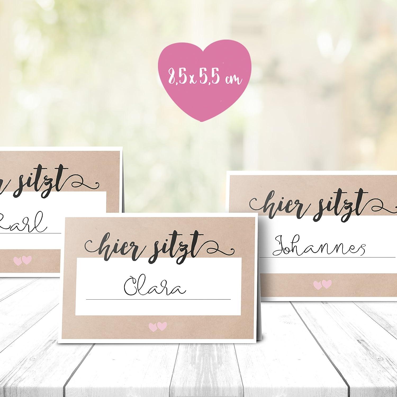 50 Tischkarten Sitzplatzkarten Namensk/ärtchen Hochzeitsfeier 8,5 x 5,5 cm Klappkarten Blush Wedding mint