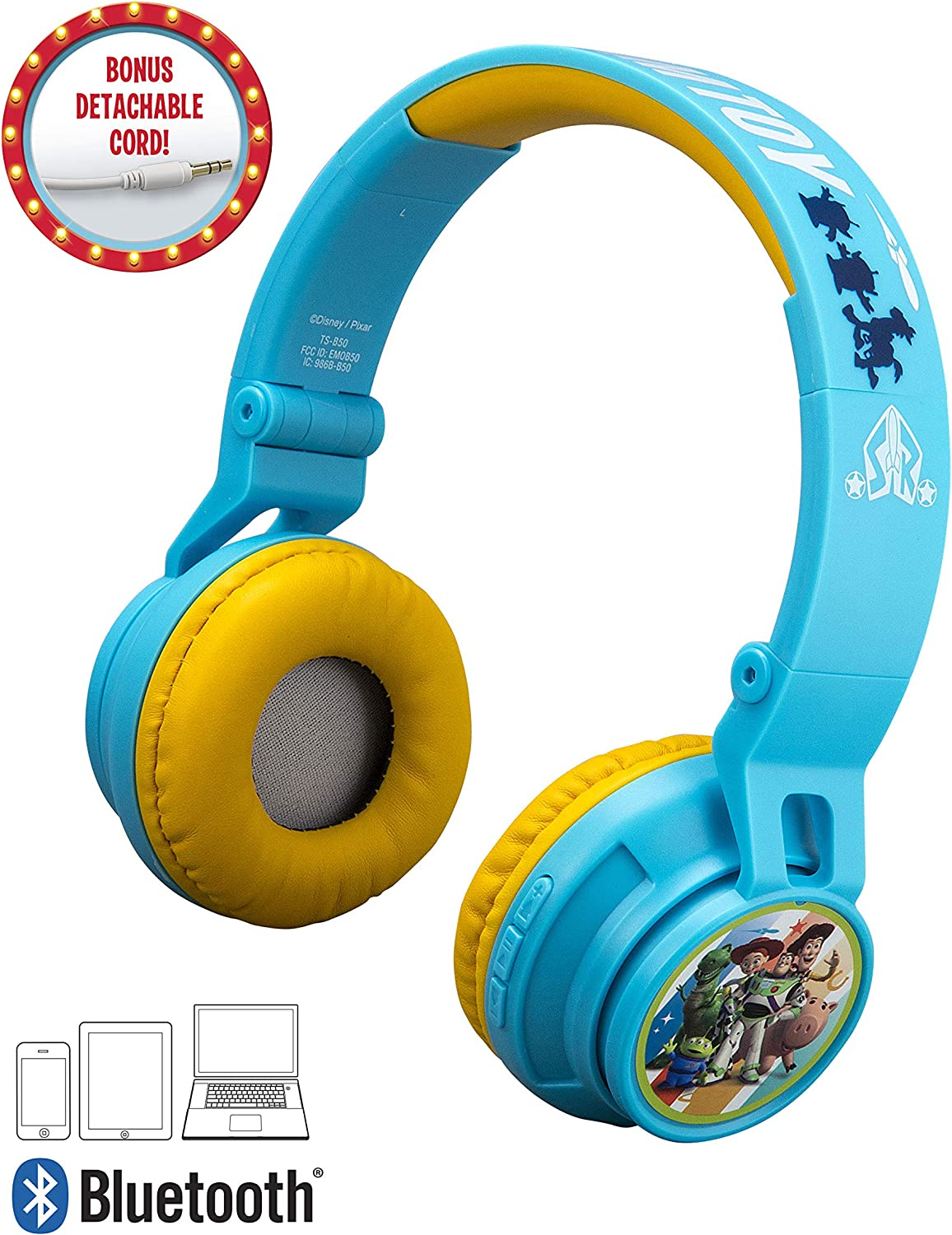 eKids B50 Toy Story 4 Kids Bluetooth Headphones for Kids Wireless Rechargeable Foldable Bluetooth Headphones with Microphone Kid Friendly Sound & Bonus Detachable Cord