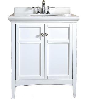 Palazzo 30inch Bathroom Vanity CarraraWhite Includes an