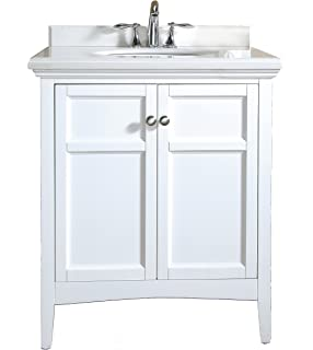 Ove Decors Campo 30 White CAMPO30WHITE Bathroom 30 Inch Vanity Ensemble  With White Marble Countertop