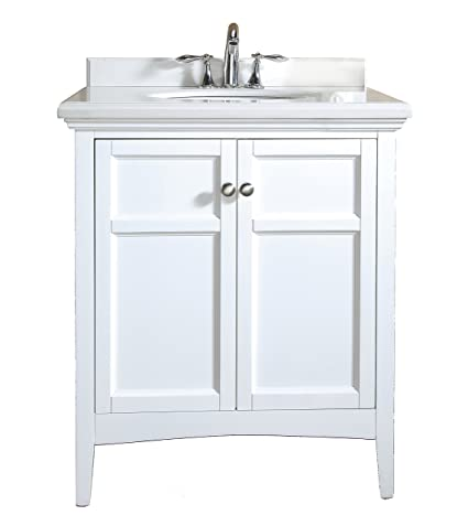 Ove Decors Campo 30 White CAMPO30WHITE Bathroom 30 Inch Vanity Ensemble  With White Marble Countertop U0026