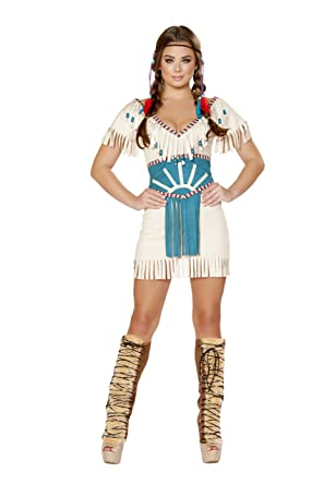 3bfe1cbe36 Amazon.com: 2 Piece Native American Indian Princess White Dress & Cincher  Party Costume: Clothing