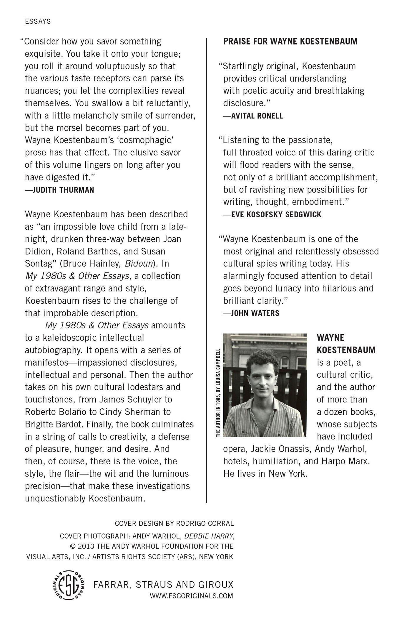my s and other essays wayne koestenbaum  my 1980s and other essays wayne koestenbaum 9780374533779 com books