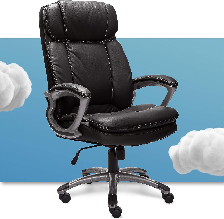 Amazon Com Serta 43675 Big Tall Executive Office Chair High Back All Day Comfort Ergonomic Lumbar Support Bonded Leather Black Furniture Decor