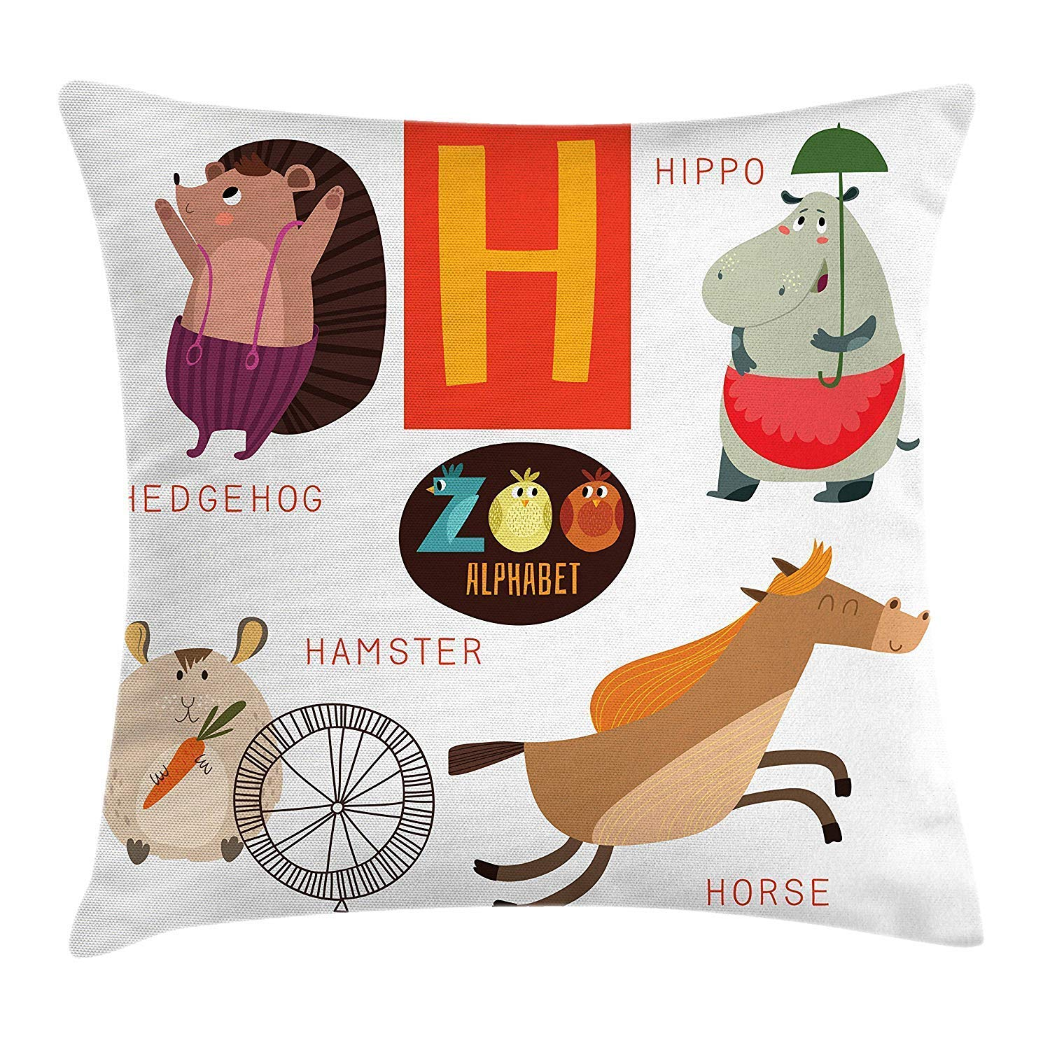 ABC Kids Throw Pillow Cushion Cover, Happy Smiling Animals ...