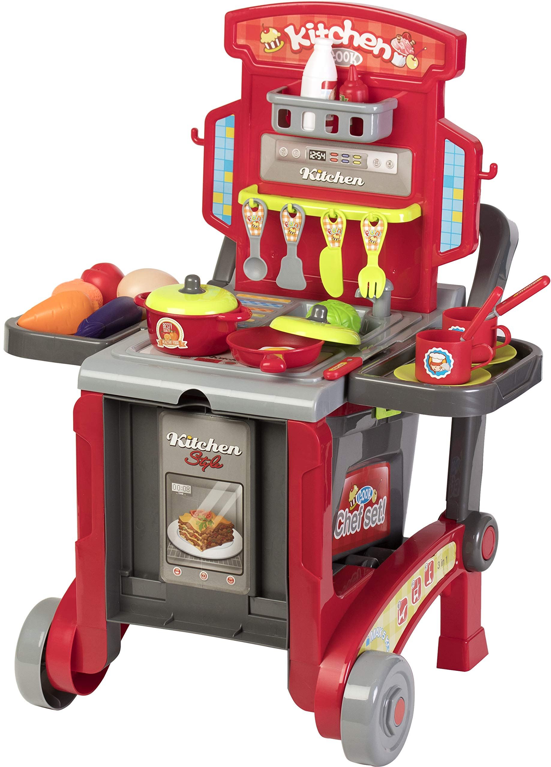 Kitchen Cook Grill Boys Playset Oven Stove, Vegetables, Pots & Pans, Cups, Utensils w/ Compact Carry Case by Kitchen Cook (Image #4)