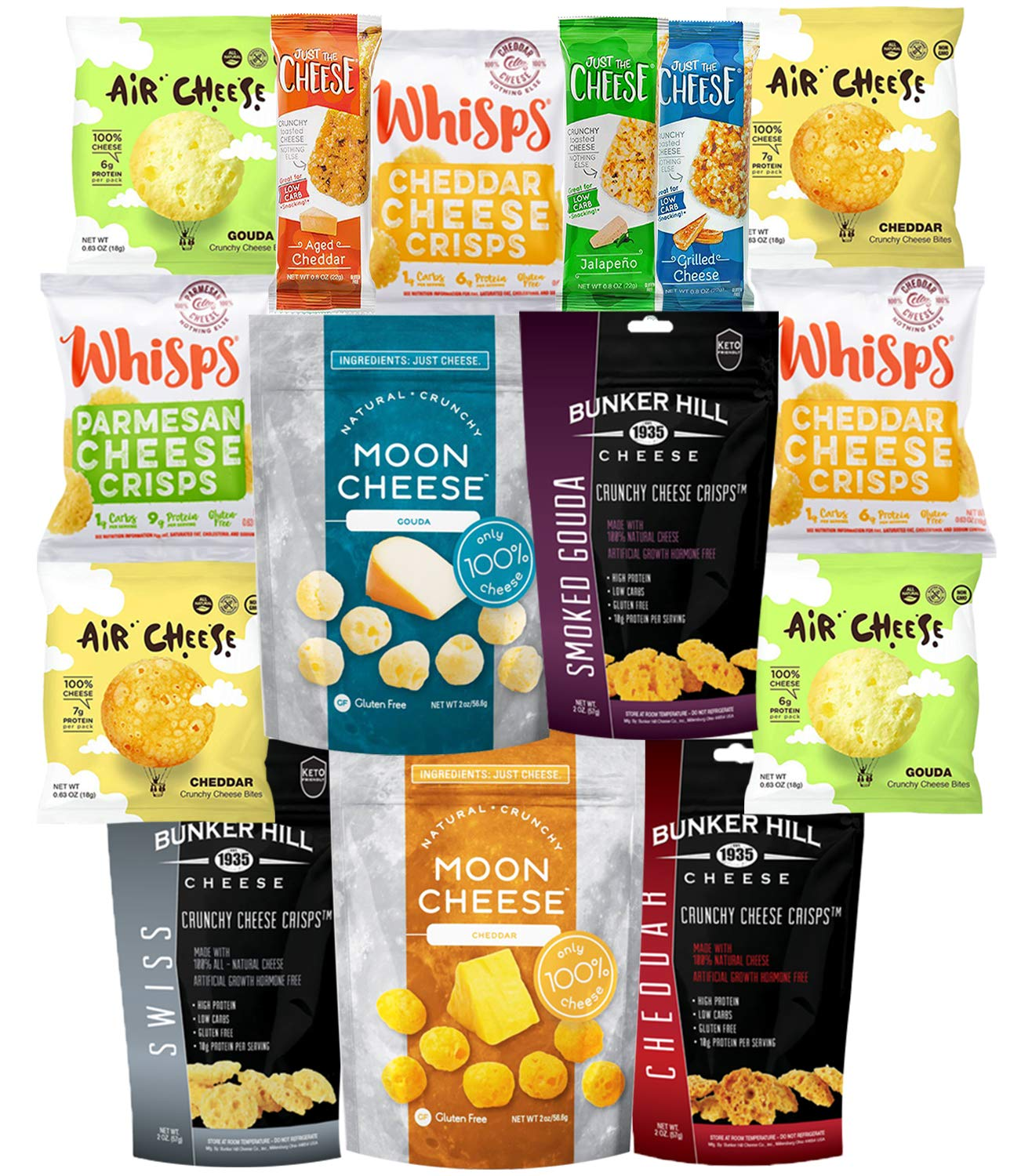 Keto Cheese Snacks Care Package Gift Box (15 Count) - Low Carb Snack - 1g Carbs or less -Ketogenic Friendly -Cello Whisps Cheese Crisps, Just The Cheese Bars, Moon Cheese, Bunker Hill -Variety Flavors