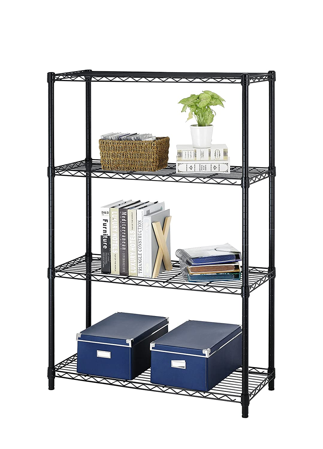 New Black Storage Rack 4-Tier Organizer Kitchen Shelving Steel Wire Shelves Cart