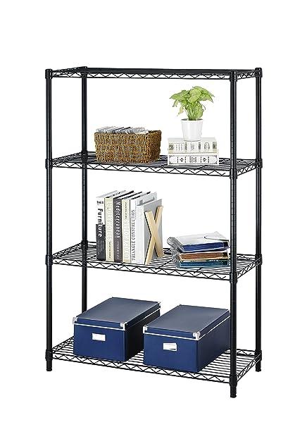 Amazon.com: New Black Storage Rack 4-Tier Organizer Kitchen Shelving ...