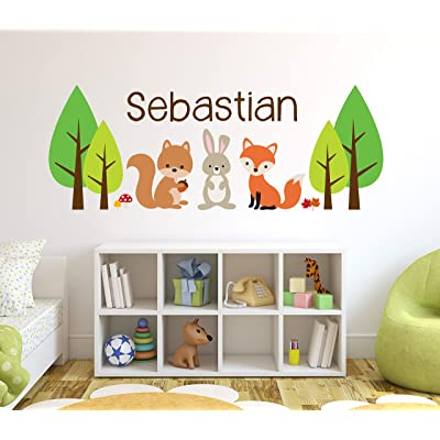 "Custom Woodland Animals Name Wall Decal - Forest Wall Decals - Nursery Wall Decals - Baby Room Mural Art Decor Vinyl Sticker (50""W x 20""H): Baby"