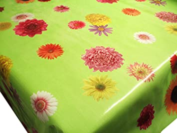 Funky Flowers On Green Vinyl Tablecloth Table Cover 2 Metres