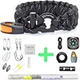 Paracord Bracelet Survival Gear | 550 Premium Black Reflective Parachute | Outdoor Emergency First Aid Tool Kit 19 in 1 Compass, Fire Starter, Emergency Knife, Whistle, Rescue Rope & Food Fishing