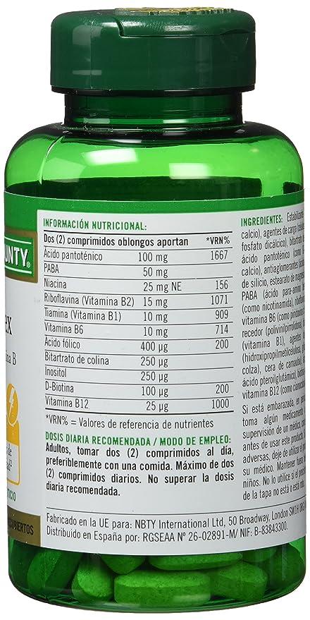 Natures Bounty B Complex Complejo de Vitamina B - 100 Comprimidos: Amazon.es: Salud y cuidado personal
