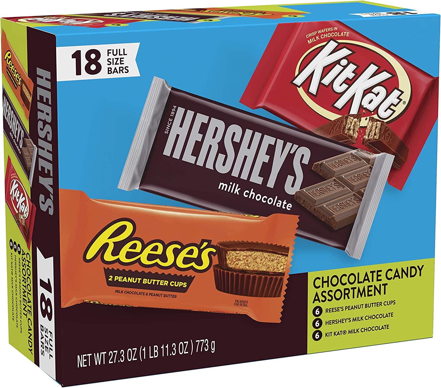 HERSHÉYS Chocolate Candy Bar Variety Pack, Reeses, Kit Kat 18 Count, 2- Pack (18 Count): Amazon.es: Deportes y aire libre