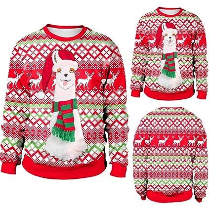 71bce28e7e574 Amazon.com  Franterd Merry Christmas Autumn Winter Women Plus Size Pullover  Christmas Alpaca Elk Sweatershirt Blouse T-Shirt Tops  Sports   Outdoors
