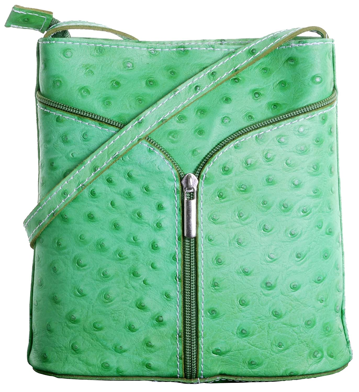 Small Ostrich Effect Front Clasp Cross Body or Shoulder Bag Handbag Italian Leather