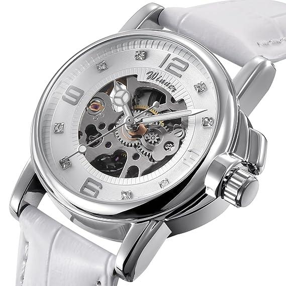 Buena Mujer Blanco Esqueleto Analog Steam Punk mecanismo automático reloj de pulsera Blanco correa de piel